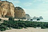 Desolate beach and steep rocks, Praia de Rocha, Portimao, Algarve, Portugal