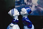 Kissing couple, Delftware porcelain, Amsterdam, Netherlands
