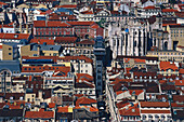 View of  Baixa from above, Lisbon, Portugal