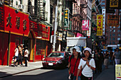 People in a street at Chinatown, Pell Street, Chinatown, Manhattan, New York, USA, America