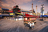 People at South Street Seaport in the evening, Manhattan, New York, USA, America