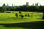 View over English Garden to spires of Munich, Bavaria, Germany