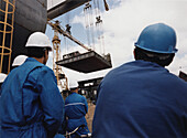 Workmen at the Queen Mary 2, Shipyard in Saint-Nazaire, France