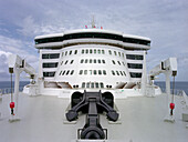 Foredeck and reserve anchor on board the cruise ship Queen May II, Luxury Ocean Liner, QM2, Cruise, Travel