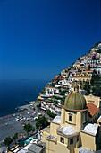 Houses at a mountainside in the sunlight, Positano, Amalfitana, Campania, Italy, Europe
