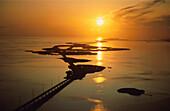 Bridge connecting little islands at sunset, Seven Mile Bridge, Florida Keys, Florida, USA Amerika, America