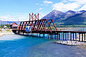 Railway bridge over Bennett Lake, Bennett Lake, Carcross, Yukon Territory, Canada