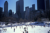 People on an ice skating rink at Central Park in Winter, Manhattan, New York, USA, America