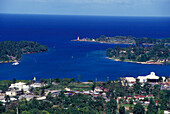 Blick auf Port Antonio, District Portland Jamaika, Karibik