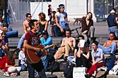 Strassenmusiker am Washington, Square, Greenwich V. New York, USA
