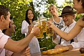 Friends in beergarden, Starnberger See Bavaria, Germany