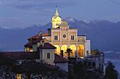 Madonna del Sasso church at night, Locarno, Ticino, Switzerland