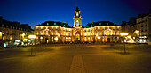 The illuminated town hall at night, Rennes, Brittany, France, Europe