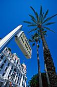 Palm tree and Hotel Negresco under blue sky, Promenade des Anglais, Nice, France, Europe