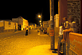 Young people in street of Santa Maria, Santa Maria, Sal, Cape Verde Islands, Africa