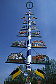 Decorative Maypole, Tradition, Upper Bavaaria, Bavaria, Germany