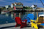 Coloured chairs at the pier, Peggys Cove, Nova Scotia Canada