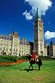 Mounted Police officer on horse, Parliament Hill, Ottawa, Ontario, Canada