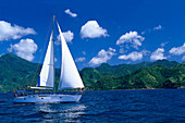 Sailing boat off shore of St. Vincent under blue sky, St. Vincent and The Grenadines, Caribbean, America