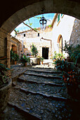 View at the sunlit courtyard of Finca Es Castell, Tramuntura, Majorca, Spain, Europe