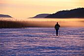 Cross country skiing on snow, descending fog, Vastergotland, Sweden