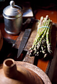Green asparagus in the kitchen of a finca, Majorca, Spain