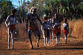 Corroborree, young dancers practicing, Weemol, Arnhernland Northern Territory, Australia
