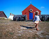 Girl 2-3 years, walking, Snogebaek, Bornholm, Denmark