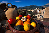 Bowl with fruit and vegetables in the sunlight, Soller, Majorca, Spain, Europe