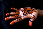 Painted hand of a muslim woman, Zanzibar, Tanzania, Africa