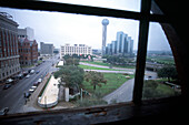 View out of a window at JFK Assassination Spot, The Sixth Floor Museum, Dallas, Texas, USA
