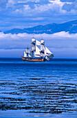 Sailing ship, replica of Endeavour, San Juan Islands Washington, USA