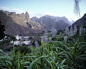 Mountain landscape with mountain village, Cha da Igreja, Santo Antao, Cape Verde