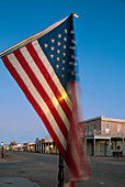 Street scene with flag, Stars and Stripes, Allen Street, Tombstone, Arizona, USA