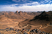 View from Assekrem, Hoggar mountains, Ahaggar Mountains, Algeria, Sahara