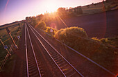 Railway track in twilight, near Bremen, Germany