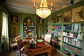 Library with desk of author Selma Lagerloef, Bibliothek, Marbacka House, Sunne, Varmland, Sweden