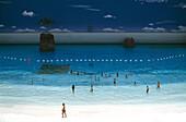 Artificial beach in Seagaia Ocean Dome, indoor waterpark, Miyazaki, South coast, Kyushu, Japan