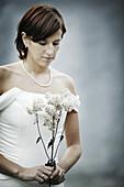 Girl in Wedding dress, Bride with flowers, Wedding