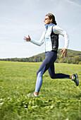 Girl jogging in nature, Sport wellness