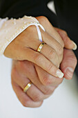 Hands with wedding-rings, Hands with wedding-rings, Close-up of hands with wedding-rings, Wedding lifestyle