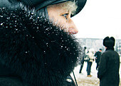 Profile of a woman wearing a fur coat, Omsk, Siberia