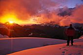 Man watching the sunset, Alpamayo, Cordillera Blanca, Peru, South America