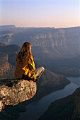 Woman admiring the view, View Point, Blyde River Canyon National Park, South Africa