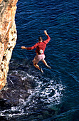 Jump, Freeclimbing, Mallorca Spain