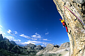 Male rock climber, Drei Zinnen, Dolomites, South Tyrol, Italy