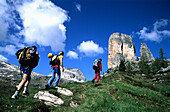 A group of people about to go rock climbing, Cinque Torre, Cortina d'Ampezzo, Dolomites, South Tyrol, Italy