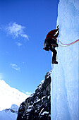 Ice cascade, Nemisis W6, March 2004, Ice Climbing, Stanley Headwall, Canada, Harald Berger