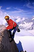 Man rock climbing at Aiguille du Midi, Alps, France