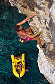 Miroslav Stec climbing Crown Point Route, rock climbing, Hvar, Dalmatia, Croatia